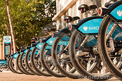 Bicycles for hire in London Editorial Photography