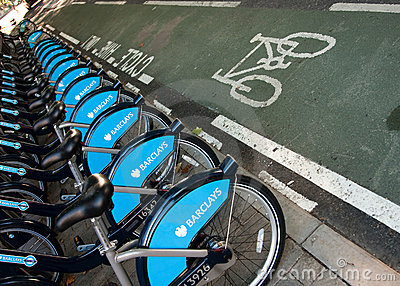 Bicycles for hire in London Editorial Stock Image