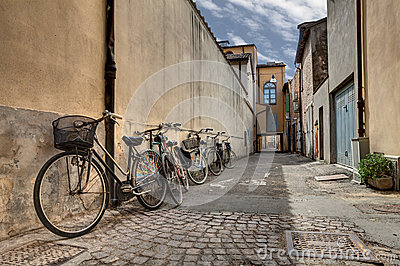 Bicycles in the old alley