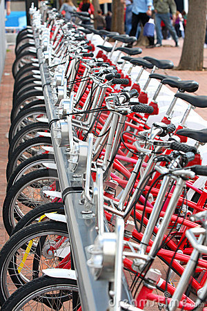 Bicycles parked in city Barcelona, Spain