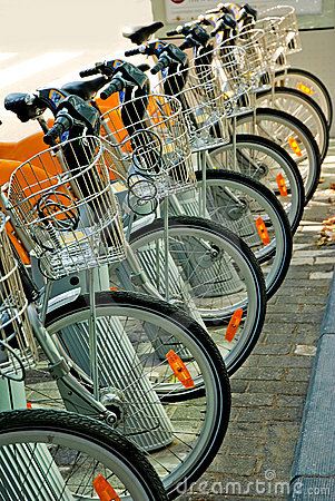 Bicycles parked in the city center