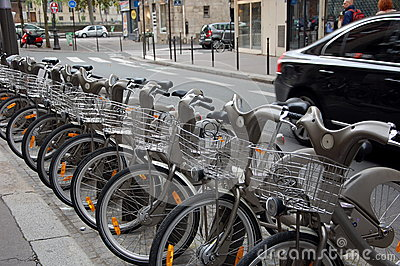 Bicycles parking in France Editorial Photography