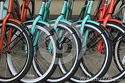bicycle wheels close up
