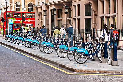 Bicycles for rent in London, UK Editorial Photography