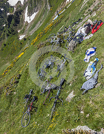 Bicycles on the Slopes of the Mountain Editorial Photo