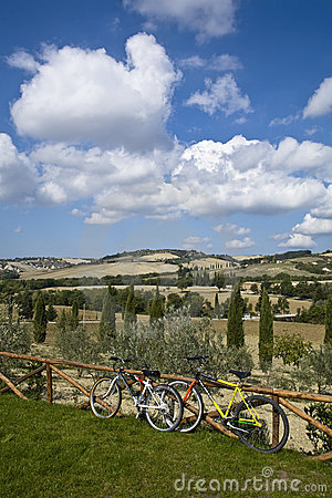 Bicycles on Tuscan hills