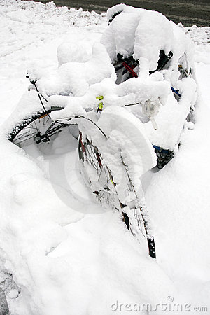 Bicycles under snow