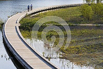 Bicycling on boardwalk