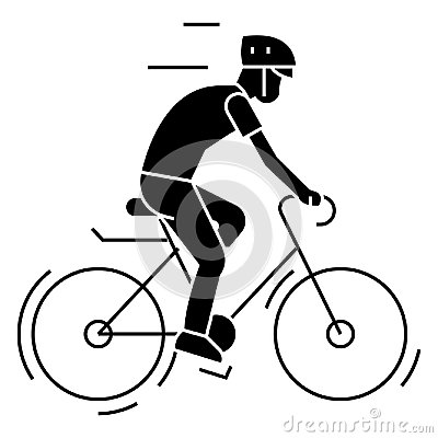 Free Bicycling - Bycicle Man Icon, Vector Illustration, Black Sign On Isolated Background Stock Photo - 102004130