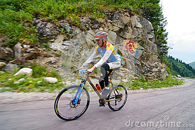 Bicycling uphill competition Editorial Stock Photo