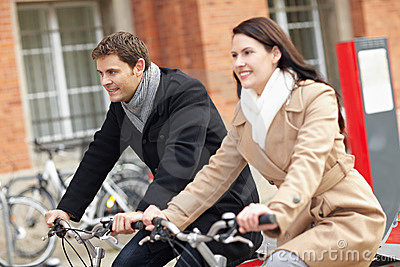 Bicyclists in a city