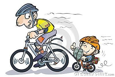 Bicyclists do pai e do filho dos desenhos animados.