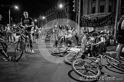 Bicyclists protest Editorial Photography