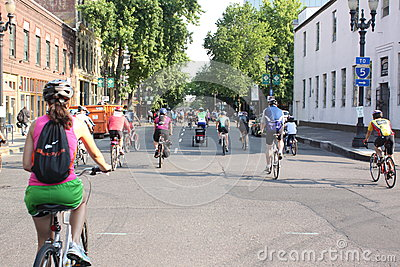 Bicyclists takeover Portland Editorial Photo