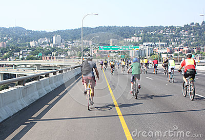 Bicyclists takeover Portland Editorial Image