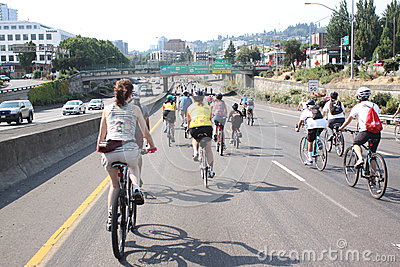 Bicyclists takeover Portland Editorial Photography