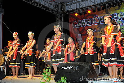 Bidayuh Women Dancers Editorial Stock Photo