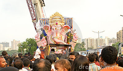 Bidding farewell to Lord Ganesha Editorial Photo