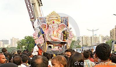 Bidding farewell to Lord Ganesha Editorial Photo