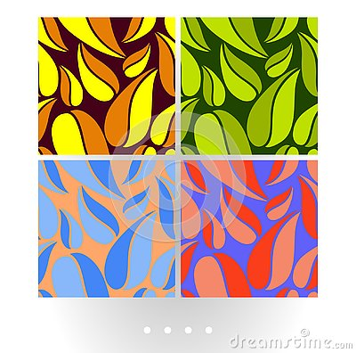 Set of vivid abstract vector seamless pattern with big leaves on colorful background. Vector Illustration