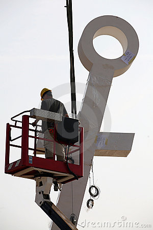 Big Anchor on place for Pope in Brno Editorial Stock Photo
