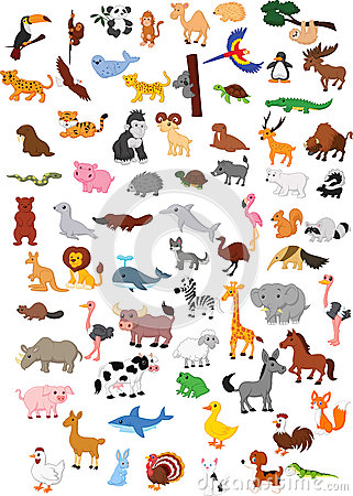 Free Big Animal Cartoon Set Stock Photos - 45743163