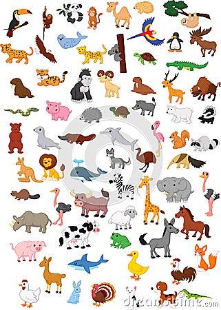 Big animal cartoon set