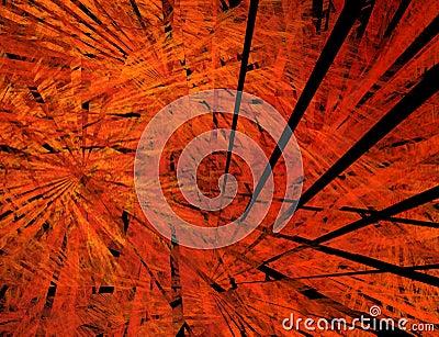Big bang. Black rays in flame