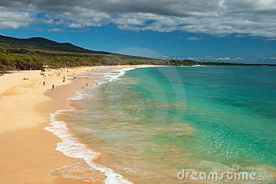 Big Beach On Maui Hawaii Island Royalty Free Stock Image - Image: 24219796