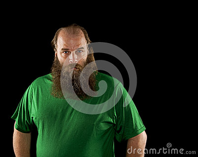 Big bearded on a balding man