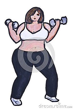 Big beauty lifts weights
