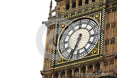 Big Ben  clock isolated on white