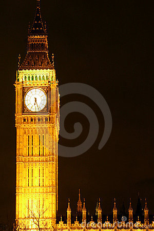 Big Ben Clock Tower At Night Stock Images Image 4231984