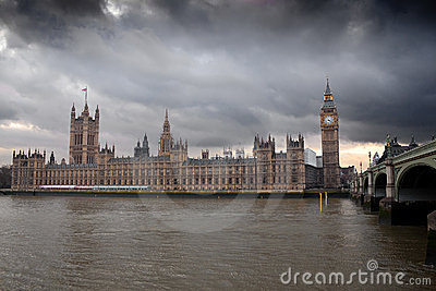 The Big Ben with a dramatic cloudy sky