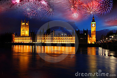 Big Ben with firework, celebration of The New Year