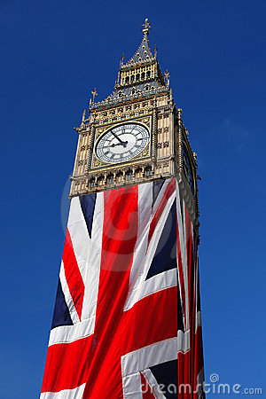 Big Ben with flag, Westminster, London