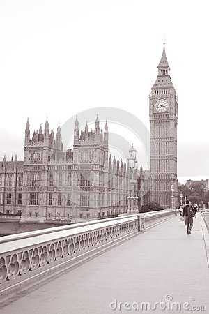 Big Ben and Houses of Parliament from Westminster Bridge; London
