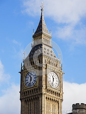 Big Ben in London with Blue Sky and Clouds