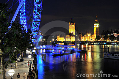 Big ben  and London eye in London at night Editorial Photography