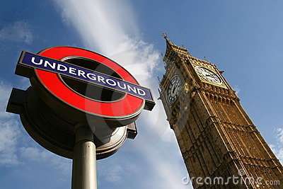 Big Ben and London Underground sign Editorial Image