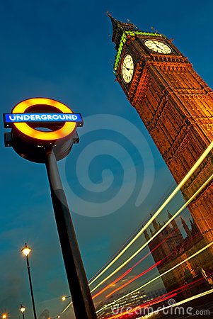 Big Ben and London Underground sign. Editorial Stock Photo