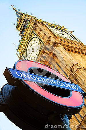 Big Ben with London Underground sign Editorial Photography