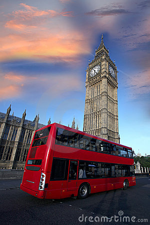 Big Ben with red bus in London, UK
