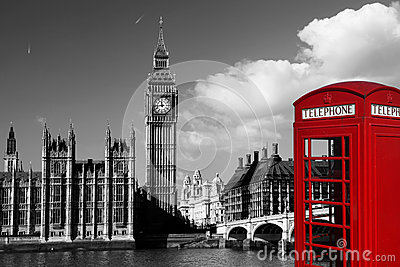 Big Ben With Red Phone Booth In London England Royalty