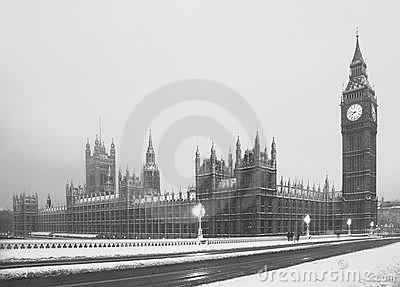 Big Ben snow scene Lodon