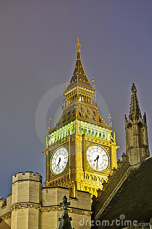Big Ben tower clock at London, England