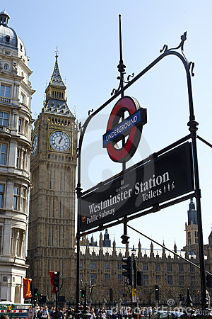 Big Ben & Underground Sign Editorial Photography