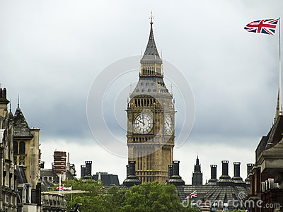 Big ben and united kingdom flag