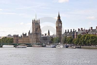 The Big Ben and Westminster bridge in London