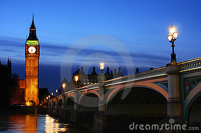 Big Ben & Westminster Bridge in London